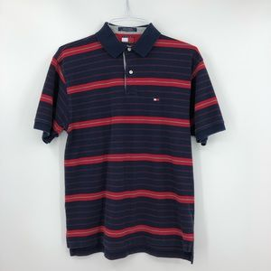 TOMMY HILFIGER Red & Blue Striped Polo Shirt
